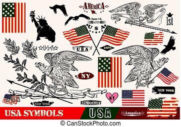 jelkép, zászlók, koszorú, style., sasok, usa, nagy, állhatatos, vektor, szüret, kéz, húzott