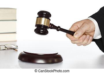 jelképes, bíróság, noha, kalapács