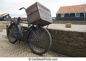jellegzetes, öreg, holland, szállít, bicikli