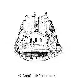 jellegzetes, párizsi, épület, franciaország