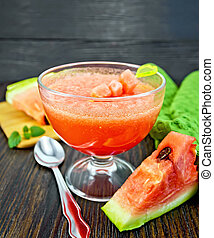 Jelly airy watermelon on table