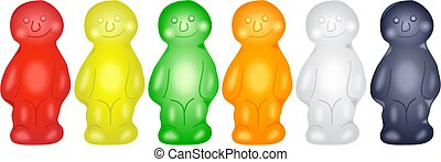 Jelly Babies - Jelly babies in a row.