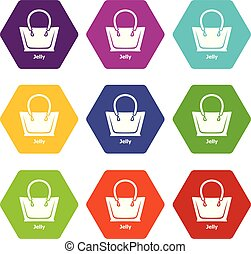 Jelly bag icons set 9 vector