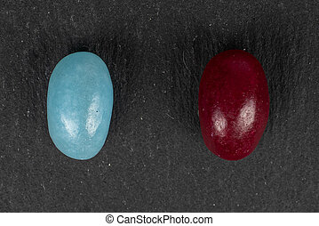 Jelly bean candy on grey stone