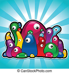 Illustration of colorful jelly bean monsters.