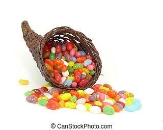 jelly beans in cornucopia