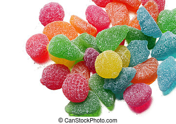 jelly candy - fruit jelly candies, on white background