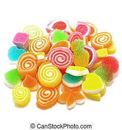 jelly candy sweet with sugar isolated on white background