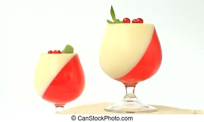 jelly dessert with berries in a glass
