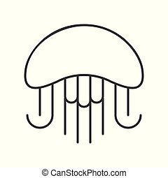 Jelly fish outline icon on white background - Jelly fish ...