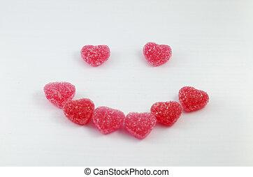 Jelly Fruit Smile on white Background