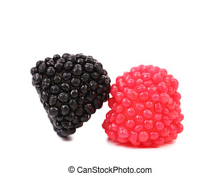 Jelly fruits in form of berries close up
