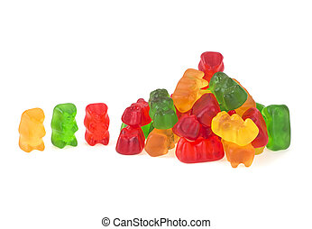 Jelly gummy bears isolated on a white background