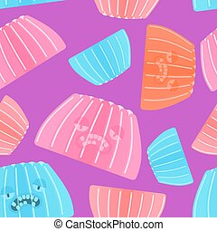 Jelly pudding pattern seamless. Sweet jell background. sweetness gelatin ornament. vector texture