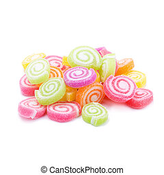 Jelly sweet flavor fruit candy dessert colorful on white background.