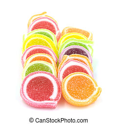 Jelly sweet, flavor fruit, candy dessert colorful on white background.
