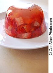 Jelly with strawberries