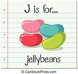 jellybeans, flashcard, j, carta