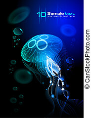 Jellyfish at the black background