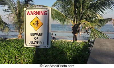 Jellyfish beware sign on the beach - Jellyfish Warning sign...