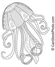 Jellyfish coloring vector for adults