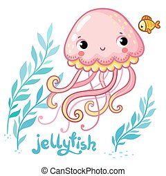 Cute cartoon Jellyfish in vector.
