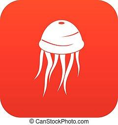 Jellyfish icon digital red
