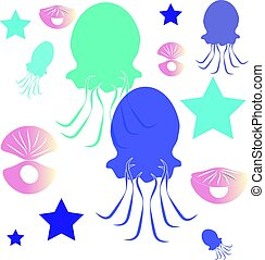 Jellyfish on white background. Marine and ocean life .