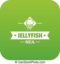 Jellyfish sea icon green vector