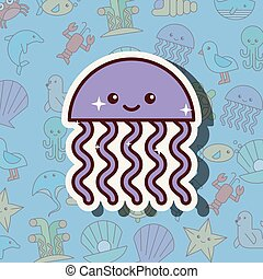 jellyfish sea life cartoon