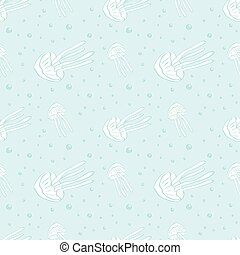 Jellyfish seamless vector pattern. Jellyfish background. Vector illustration.
