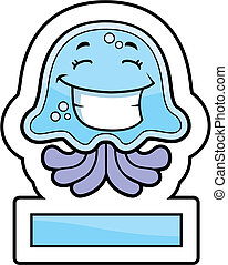 Jellyfish Smiling - A cartoon blue jellyfish smiling and...