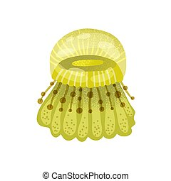 Jellyfish swimming in sea. Underwater marine yellow medusa with beautiful tentacles isolated on white background. Flat vector cartoon textured illustration of bright jelly fish
