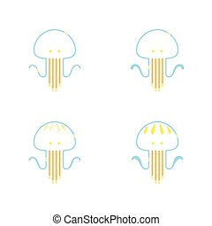 Jellyfish symbol icon outline stroke set dash line design illustration orange yellow and blue color isolated on white background, vector eps10
