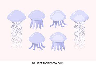 Jellyfish vector flat icon set