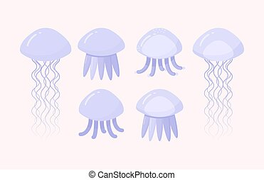 Jellyfish vector flat icon set