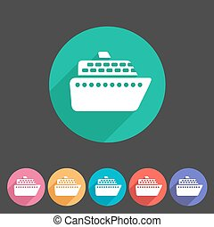 jelvény, hajó, csónakázik, állhatatos, ikon, lakás, komp