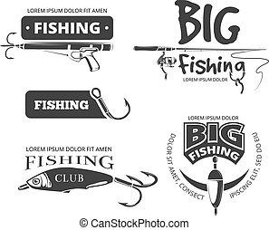 jelvény, jel, klub, elnevezés, emblémák, vektor, retro, halászat