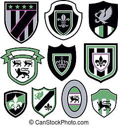 jelvény, klasszikus, embléma, királyi, elem