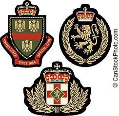 jelvény, klasszikus, embléma, pajzs, királyi
