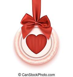 jelvény, noha, szív, piros szalag, és, íj, elszigetelt, white, háttér