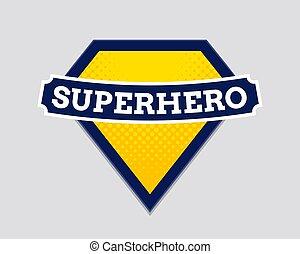 jelvény, superhero, pajzs, erő, logo., jelkép, vektor, hős, ember, szuper, ikon