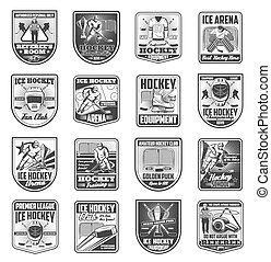 jelvény, vektor, bajnokság, sport, jégkorong, ikonok