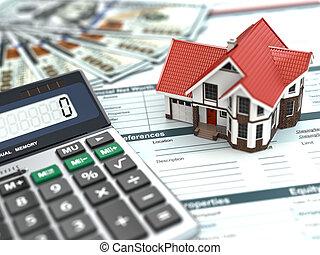 jelzálog, calculator., épület, pénz, és, document.