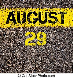 jelzés, augusztus, felett, 29, sárga, nap, festék, egyenes, ...