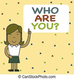 jemand, zeigen finger, wort, geschichte, schreibende, stehende , angehoben, index, frau, oder, demonstratingal, hintergrund, youquestion., box., leer, links, dein, geschaeftswelt, fragen, begriff, text