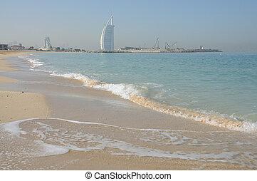 Jemeirah Beach and Hotel Burj Al Arab in Dubai