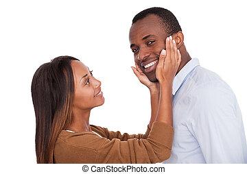 jemu, zamknięcie, twarz, afrykanin, me., ona, przystojny, młody, reputacja, jego, patrząc, znowu, kocha, aparat fotograficzny, wiedzieć, dotykanie, człowiek, uśmiechanie się, sympatia