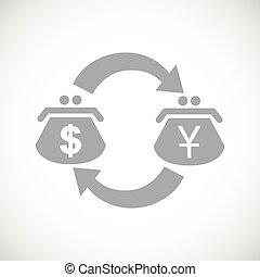 jen, dolar, ikona, czarnoskóry, zamiana