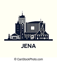 Jena City Skyline. Germany, Thuringia. Solid color.